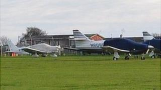 Private planes parked at Guernsey Airport