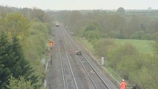 Railway line where cows were hit