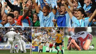 From top, clockwise: Manchester City fans celebrate Premier League win, Bayern Munich playing Manchester United in 1999 UEFA Champions League Final, Jonny Wilkinson in 2003 match that won England the Rugby World Cup, England at Edgbaston in 2005