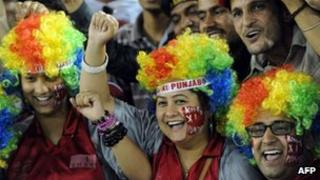 Kings XI Punjab fans cheer prior to the start of the IPL Twenty20 cricket match between Kings XI Punjab and Kolkata Knight Riders at PCA Stadium in Mohali on April 18, 2012.