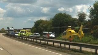 Air ambulance on the A14 at Nacton, Suffolk