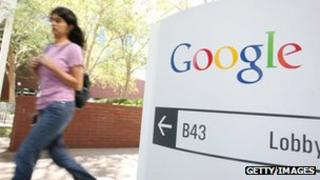 Google logo seen on a sign at its Mountain View headquarters