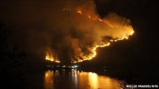 Wild fire at Kintail. Pic: Willie Fraser/NTS