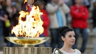 Olympic flame in Athens