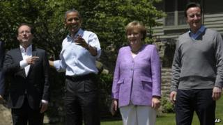 Francois Hollande, Barack Obama, Angela Merkel and David Cameron, at the G8 summit, Camp David (19 May)