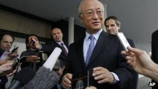 Yukiya Amano at Vienna airport. 20 May 2012
