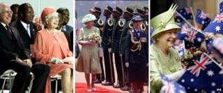 The Queen visiting countries in the Comonwealth