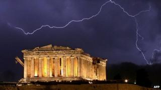 Lightning over the ancient Greek Parthenon temple