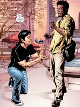 X-Men character Jean-Paul Beaubier, aka Northstar, proposing to boyfriend Kyle Jinadu