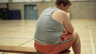 Obese child on bench