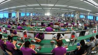 Workers at a factory in China