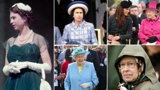 Composite image of the Queen - from left to right: the Queen in Melbourne, 1954; at Longchamps racecourse, outside Paris, 1972; with Catherine, Duchess of Cambridge at De Montfort University, 2012; at the Royal Windsor horse show in 2007, in north London in 2012.