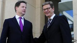 Nick Clegg with German foreign minister Guido Westerwelle