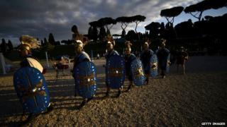 Actors dressed as ancient Romans