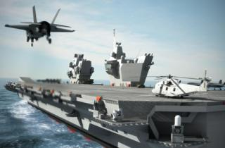 Computer-generated image issued by the MoD of an aircraft carrier