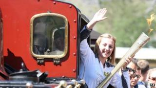 Torchbearer Elin Owen on the Ffestiniog Railway