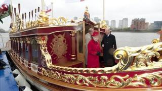 Queen Elizabeth II and the Duke of Edinburgh visit Gloriana, the new Royal Row Barge