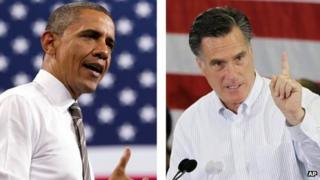 US President Barack Obama and Republican presidential candidate Mitt Romney combination picture