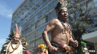Brazilian native Indians outside the Health Ministry building