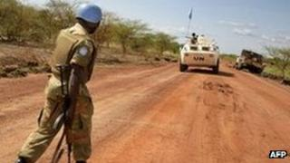UN peacekeepers patrolling the Todach area, north of Abyei, on 30 May 2011