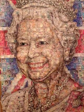 Portrait of the Queen created from bank notes