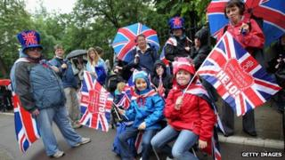 Revellers queue to enter a Jubilee Party in Battersea Park