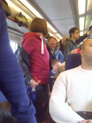 Chiltern Railway passengers on board a London train (pic Sian Grzeszczyk)