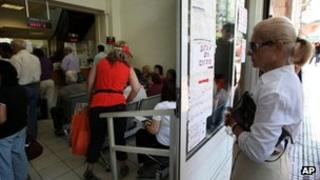 Greeks queue at a pharmacy in Athens, 6 June