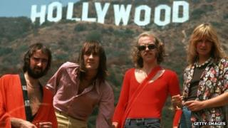 Bob Welch (second from right) with Fleetwood Mac members John McVie, Mick Fleetwood and Christine McVie