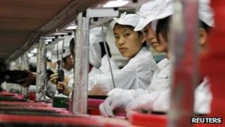 File photo: Workers at a Foxconn factory in China