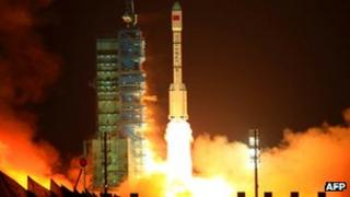 China's Long March 2F rocket carrying the Tiangong-1 module blasts off from the Jiuquan launch centre on September 29 2011