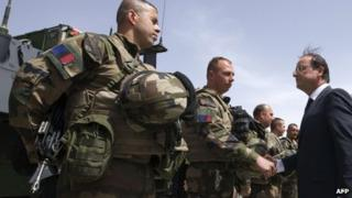 French President Francois Hollande with French soldiers in Kapisa Province, Afghanistan, on 25 May