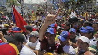Henrique Capriles during a march in Caracas