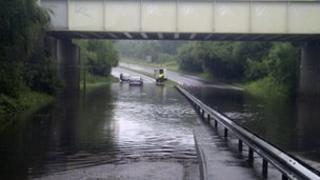 The railway bridge on the A33 at Chineham