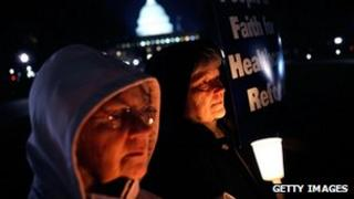 Sisters of the Leadership Conference of the Women Religious hold a vigil in support of the public option on healthcare reform, Washington DC, 8 December 2009