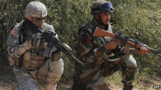 US and Indian soldiers in a joint military exercise in Rajasthan, India