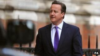 David Cameron arriving at Leveson