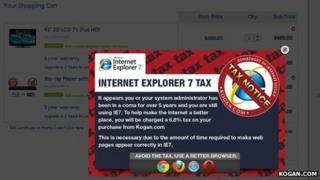 Illustration of Internet Explorer 7 tax from the Kogan.com website