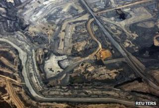 Aerial view of the Syncrude tar sands mine in Alberta