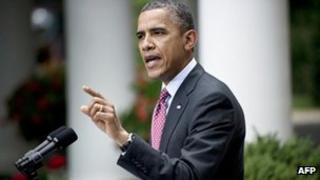 President Barack Obama speaks in the Rose Garden on 15 June 2012
