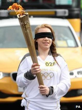 Mia Rathband with the torch