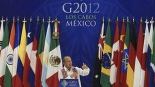 Mexican President Felipe Calderon at the inauguration of the G20 convention centre in Los Cabos