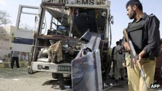 Pakistani police inspect a damaged university bus after it was destroyed by roadside bomb on the outskirts of Quetta on June 18, 2012.