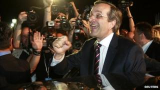 Antonis Samaras, the leader of the conservative New Democracy party, on election night 17 Jun 12