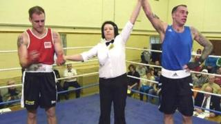 Mandy Brown in the ring at a boxing bout