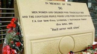 Memorial at Sheffield Wednesday's Hillsborough stadium