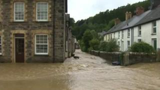 Flooding in mid Wales