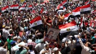 Supporters of Muhammad Mursi in Tahrir Square, Cairo on 21 June