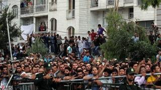 Crowd is watching public hanging in Tehran