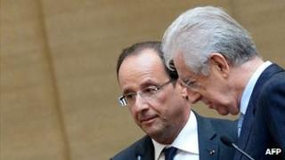 French President Francois Hollande (left) and Italy's PM Mario Monti, 15 Jun 12